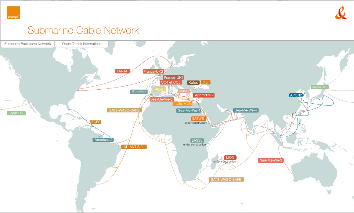France telecom 39 s worldwide network for Cable france telecom exterieur