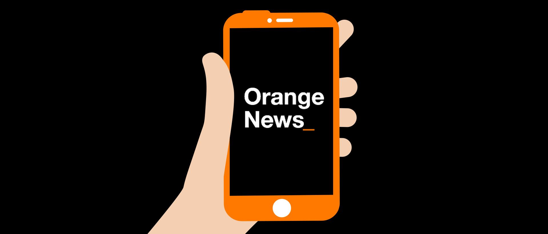Le logo de l'application Orange news dans une illustration de mobile